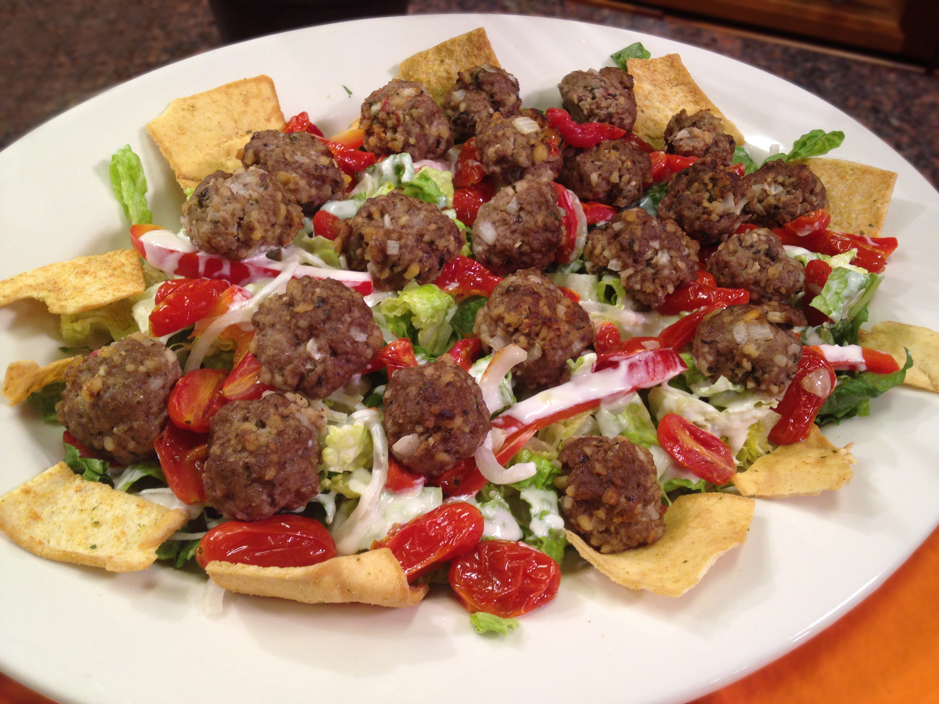 meatball salad | the great groceries cart