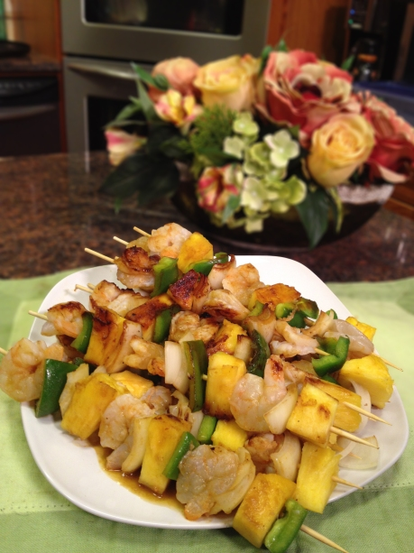Shrimp and Pineapple Kebabs with Hot Sauce