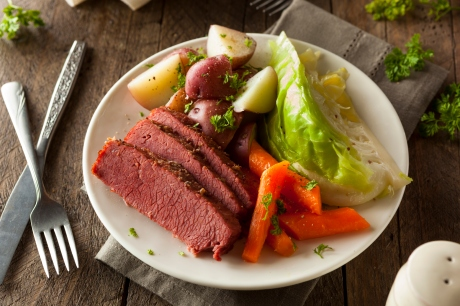 corned beef, cabbage and potato dinner
